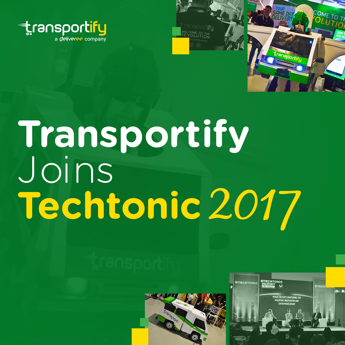 transportify courier, courier and delivery services, flower delivery, motorcycle pickup and delivery, transportify truck, Techtonic, Convention, Manila, Innovation, Startups, Transportify Robot