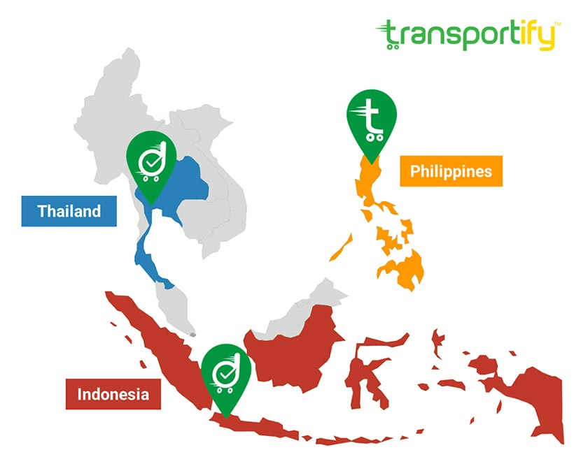 deliveree transportify regional map