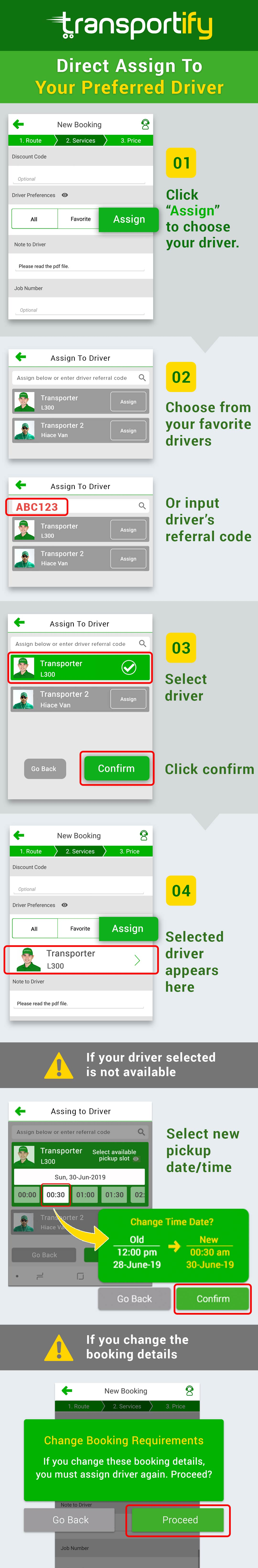 Assign Driver Feature Transportify Infograph