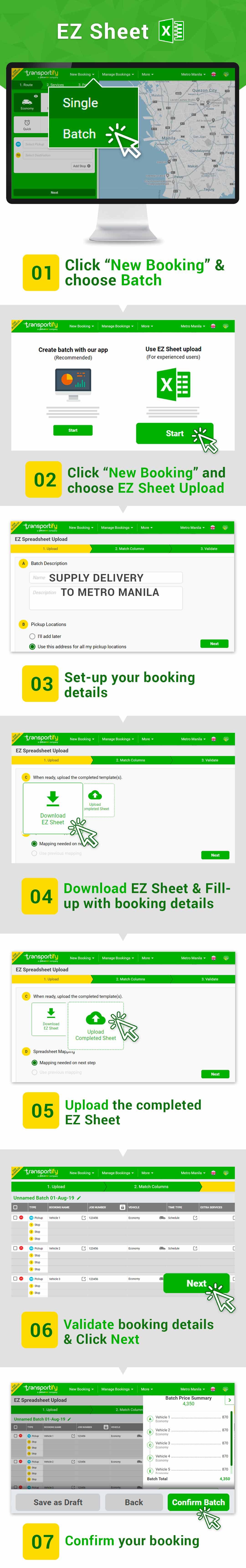 Batch Booking Using EZ Sheet