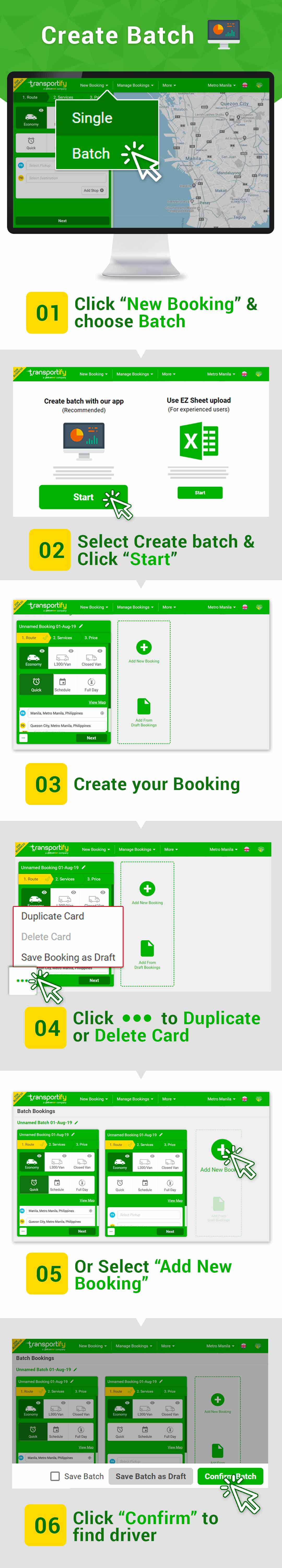 Batch Booking on the Web App