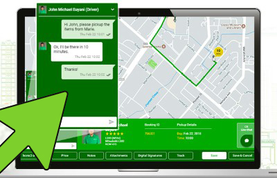 Customer and Driver Live Chat on Web App