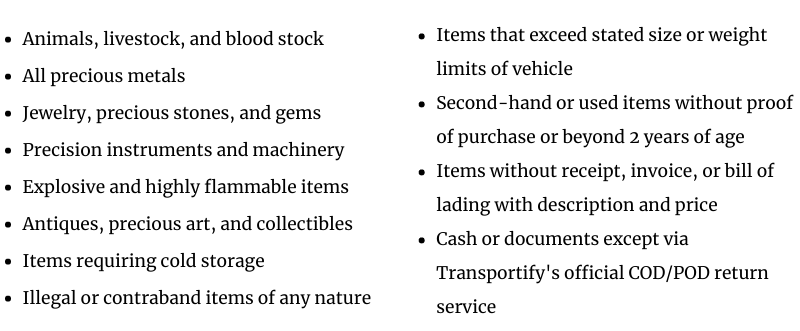Goods Insurance Non-Covered Items List