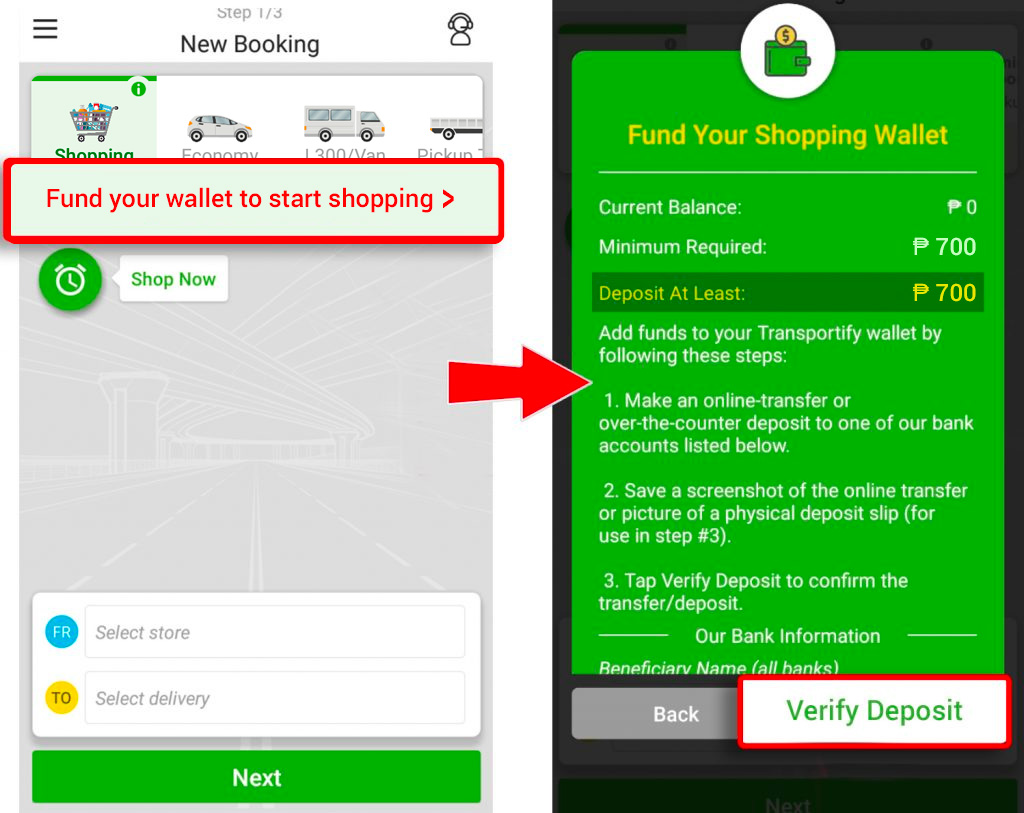 shopping service top up