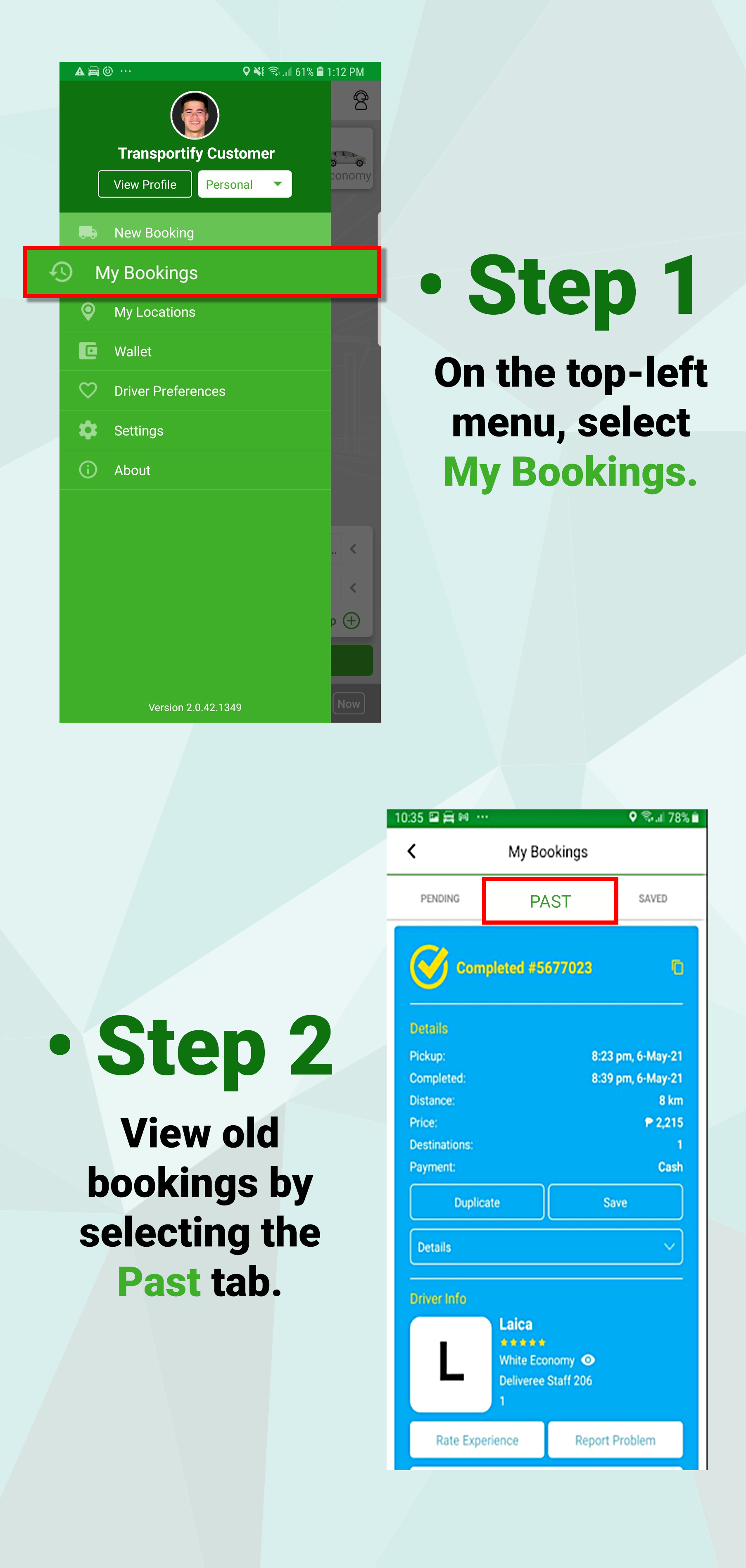 How to View Old Bookings - Mobile