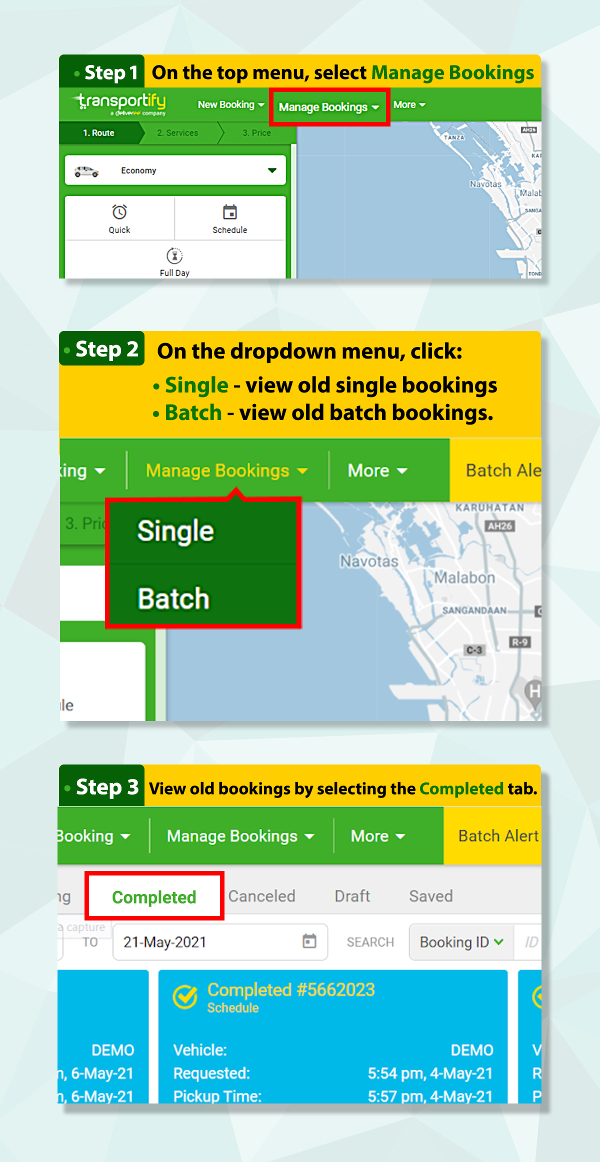 How to View Old Bookings - Webapp